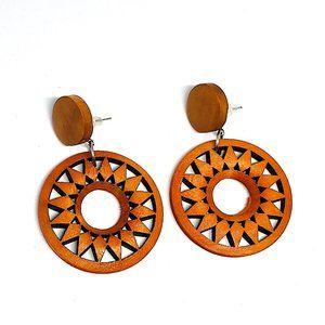 New! Wooden Geometric Pattern Round Hoop Earrings